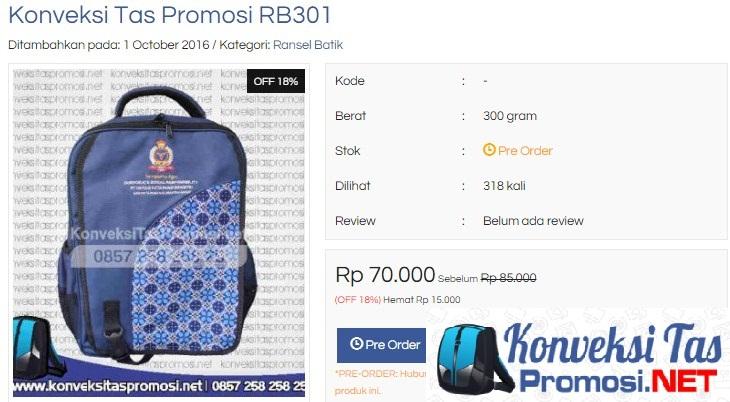 Contoh Tas Promosi Ransel Batik Untuk Souvenir
